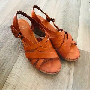 Eileen Fisher wedges sandals cork leather strap